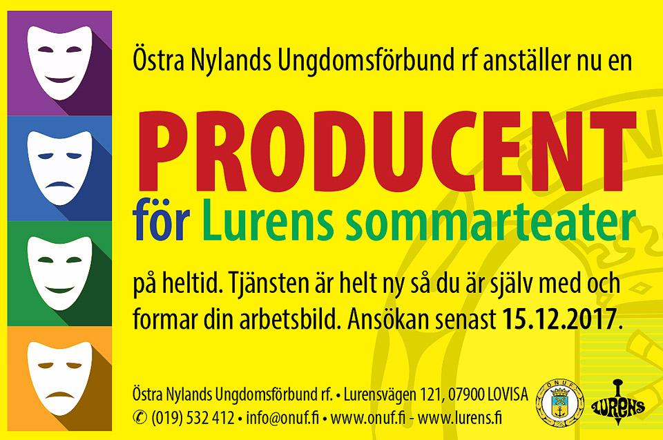 ÖNUF anställer producent på heltid för Lurens sommarteater